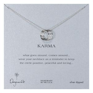 Triple karma ring silver dipped necklace aloadofball Images
